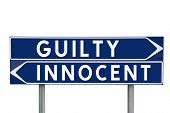 Blue Direction Signs with choice between Guilty or Innocent isolated on white background