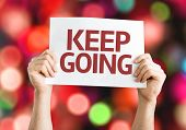 Keep Going card with colorful background with defocused lights