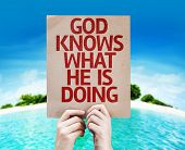 God Knows What He is Doing card with a beach on background