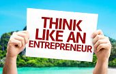 Think Like an Entrepreneur card with a beach on background