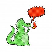 picture of fire-breathing  - cartoon fire breathing dragon with speech bubble - JPG
