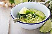 Cucumber noodles with asparagus and ginger