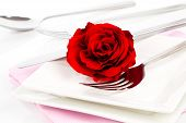 Valentines Table Setting With An Gift Box, To Celebrate The Holiday With A Loved One