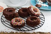 Homemade baked chocolate donuts