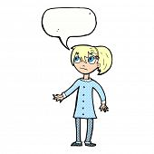 cartoon worried girl with speech bubble