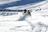 Close Up Of A Skier While Skiing On The Mountain