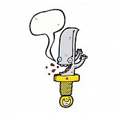 crazy knife cartoon character with speech bubble
