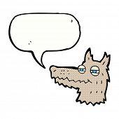 cartoon smug wolf face with speech bubble