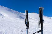Ski Poles On The Mountain Falakro, In Greece.