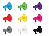 Megaphone Icons In Different Colours