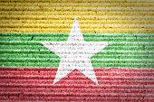Burma Flag on crumpled paper