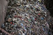 Big pile of garbage at a waste processing plant