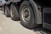 Wheels of the trailer of a big truck