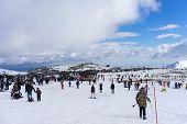 Skiers Enjoy The Snow At Kaimaktsalan Ski Center, In Greece. Recently At The Ski Center Every Lift H