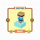 block cartoon hero game asset