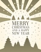 image of merry christmas text  - Christmas card with traditional Christmas trees and stars relating to the star of Bethleham with bold upper case text  - JPG