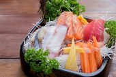 A Colorful Platter Of Sashimi Sushi With Tuna And Crab Sticks - Selective Focus Point