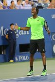 Tennis player Gael Monfis during US Open 2014 quarterfinal match against Roger Federer
