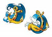 Cartoon ship anchors on sea water waves