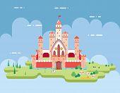 Flat Design Castle Cartoon Magic Fairytale Icon Landscape Background Template Vector Illustration