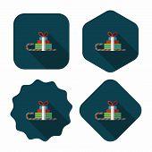 Christmas Sleigh Gift Basket Flat Icon With Long Shadow