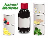 Medical Syrup From Different Natural Ingredients. Set Of Different Labels. Natural Medicine.