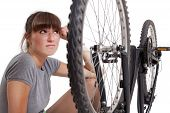 Unhappy Woman With Defect Bike