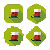 Christmas Sleigh Flat Icon With Long Shadow,eps10