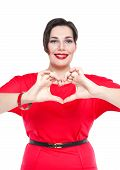 Plus Size Woman Doing Heart Shape With Hands. Focus On Hands