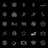 Public Line Icons On Black Background
