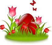 Red Easter Eggs In Grass With Flowers And Butterflies