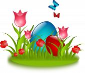 Red And Blue Eggs In Grass With Flower And Butteflies