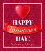 Valentine�¢�?�?s Day card with heart shape and typography. Vector