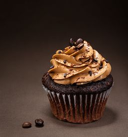 pic of icing  - A chocolate cup cake with mocha icing and sprinkles - JPG