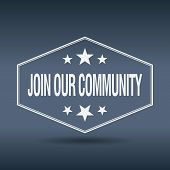 picture of joining  - join our community hexagonal white vintage retro style label - JPG
