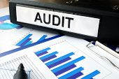 image of financial audit  - Folder with the label AUDIT and charts - JPG