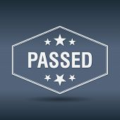 foto of passed out  - passed hexagonal white vintage retro style label - JPG