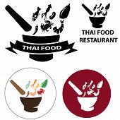 pic of thai food  - Thai Food restaurant logo and vector icon with isolated object  - JPG