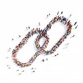 pic of chains  - Large group of people in the form of a chain link - JPG