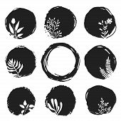 image of taint  - Vector ink sketch spots with hand drawn floral elements - JPG