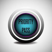 picture of priorities  - Silver blue priority pass button isolated on a blank background - JPG