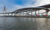 image of suspension  - Industrial Ring road with suspension bridge river front - JPG