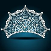 stock photo of crown jewels  - illustration crown tiara with pearl white female - JPG