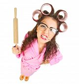 image of nerd  - Funny housewife with nerd glasses isolated - JPG
