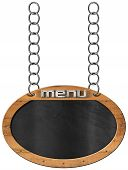 foto of food chain  - Oval empty blackboard with wooden frame and text menu hanging from a metal chain and isolated on white background - JPG