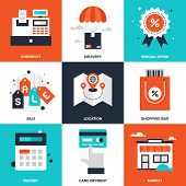 stock photo of payment methods  - Vector set of flat shopping and commerce icons - JPG