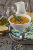 picture of ginger-bread  - Soup of carrots with ginger on old table background - JPG