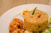 foto of shrimp  - Fried rice with shrimp pasteRice Mixed with Shrimp paste detail Thai food - JPG