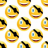 pic of emoticons  - Vector pirate emoticon repeated on white background - JPG