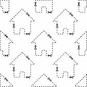 picture of dash  - Dashed contour of house repeated on white background - JPG
